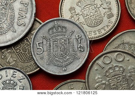 Coins of Spain. Coat of arms of Spain depicted in the Spanish 5 peseta coin.