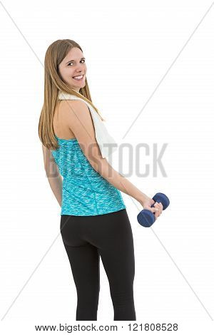 Smiling Fitness Woman With Dumbbell