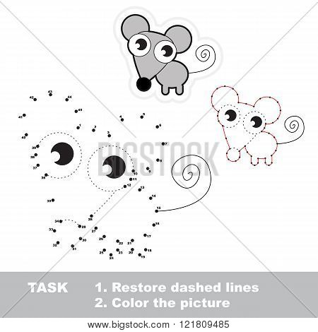 Mouse in vector to be traced by numbers. Vector visual game.
