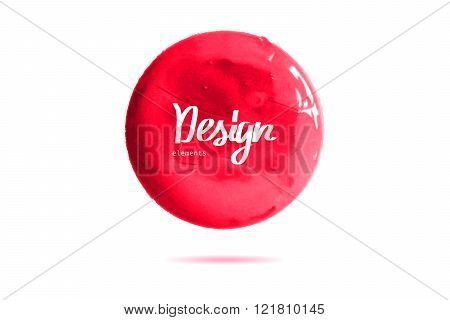 Round Red Banner Painted With Paint