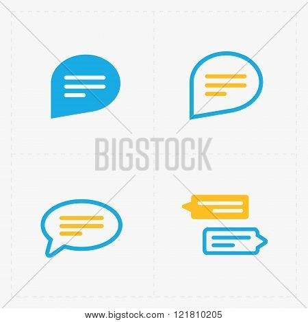 Colorful Speech bubble icons on white background. Vector illustr