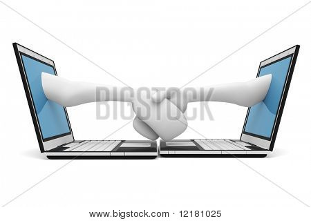 3d render of a hand pop'ing out from a notebook screen