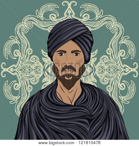 Handsome arabian man with mustache and beard in a turban over ornate pattern. Retro hand drawn vector illustration