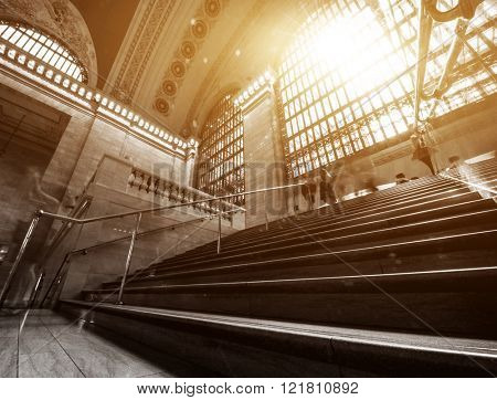 Sunlight pouring through the windows at Grand central Terminal, New York.