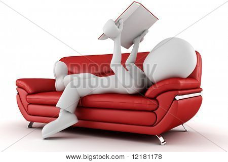 3d man sitting on a couch reading a book