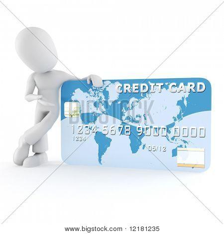 3d man standing near a business card