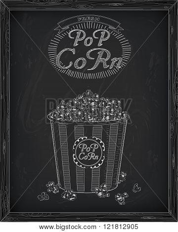 Beautiful Big Striped Carton Box Full Of Delicious & Fresh Popcorn
