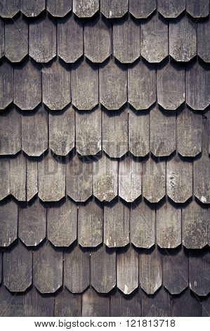 Larch shingles in Chiloe, Chile.