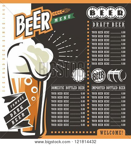 Beer menu retro design template