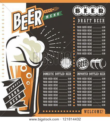 Beer menu retro design template