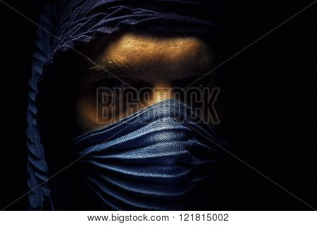 Face Under The Blue Cloth