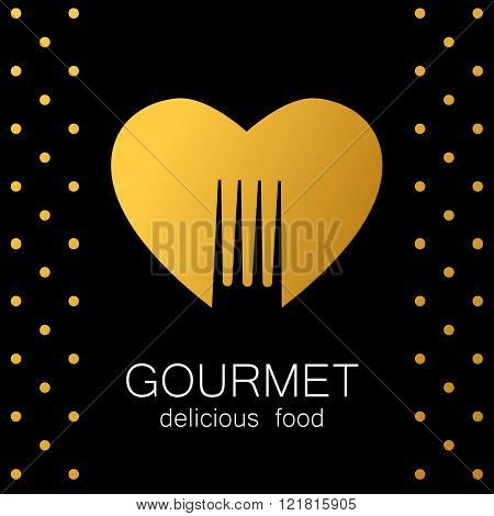 Gourmet logo. Delicious food. Golden Heart with silhouette of fork on black background. Love Food logo. Template logo for restaurant, cafe, fast food, store food. Vector logo.