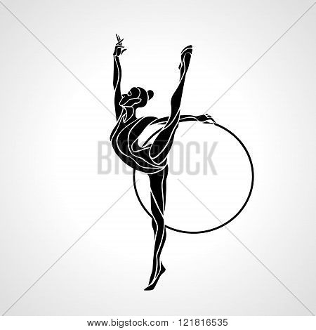 poster of Rhythmic Gymnastics with Hoop black Silhouette on white background. Vector illustration. eps 8