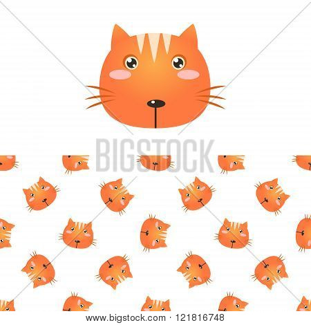 Cat Head Icon And Pattern