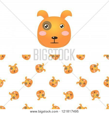 Puppy Head Icon And Pattern
