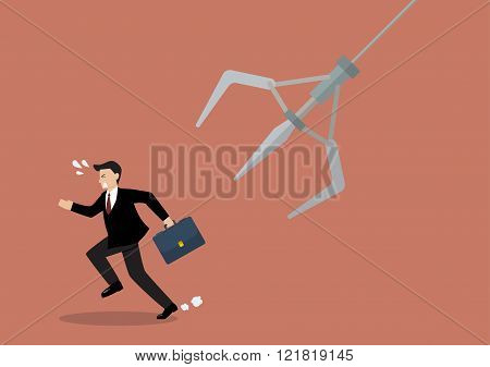 Businessman Running Away From Robotic Claw
