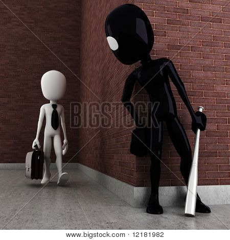 3d man evil criminal robbing a business man