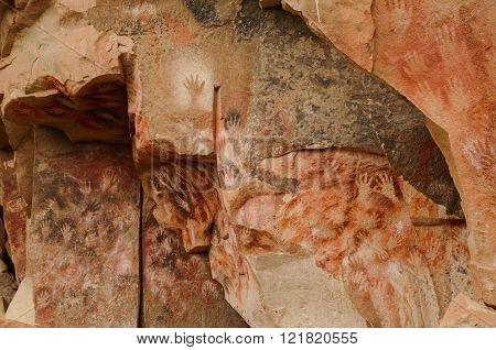 PERITO MORENO, ARGENTINA - FEBRUARY 23, 2016: World heritage site Cueva de las manos close to the village Perito Moreno.