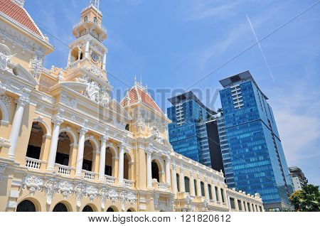 Townhall and skyscrapers of Saigon city, Vietnam