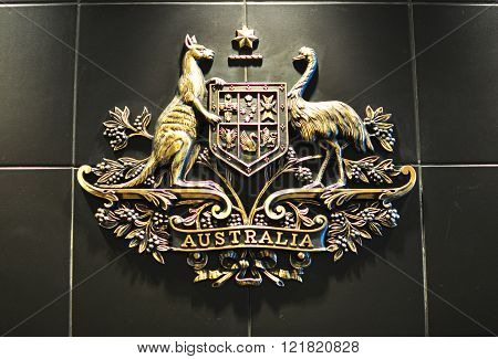 HO CHI MINH CITY VIETNAM - MARCH 6: Australian coat of arms in australian consulate in Ho Chi Minh City Vietnam on March 6 2015. The coat of arms of Australia is the formal symbol of the Commonwealth of Australia.