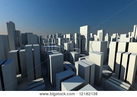 Horizonte de 3D de uma cidade de multidão, vista aérea