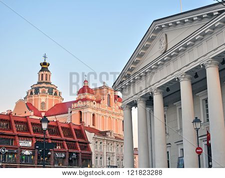 VILNIUS LITHUANIA - APRIL 11: Townhall and churches of Vilnius old town on April 11 2015. Vilnius is the capital and largest city of Lithuania.