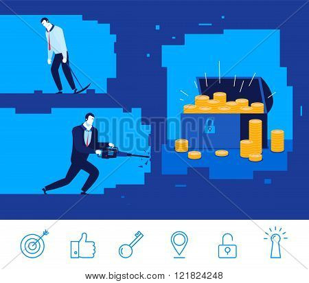 Vector business concept  illustration. Two businessman digging the ground