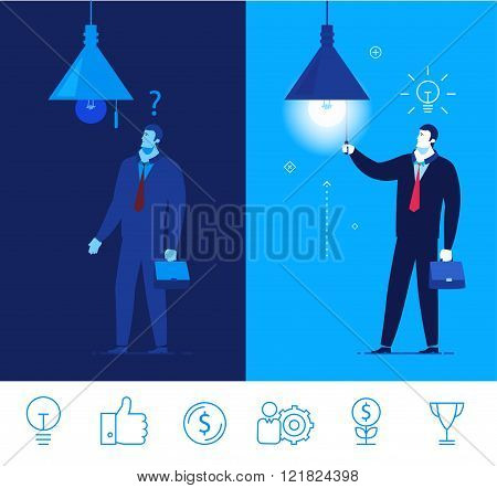 Vector business concept  illustration. Businessman in dark and light in the room.