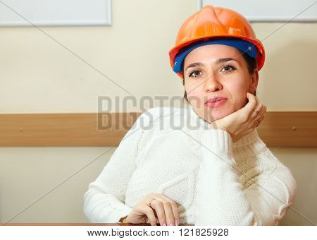Beautiful Woman In Office. Contractor
