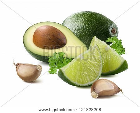 Guacamole Avocado Garlic Lime Ingredients Isolated