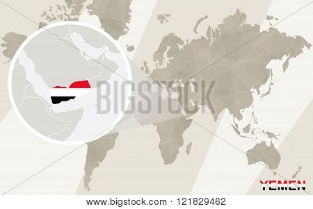 Zoom On Yemen Map And Flag. World Map.
