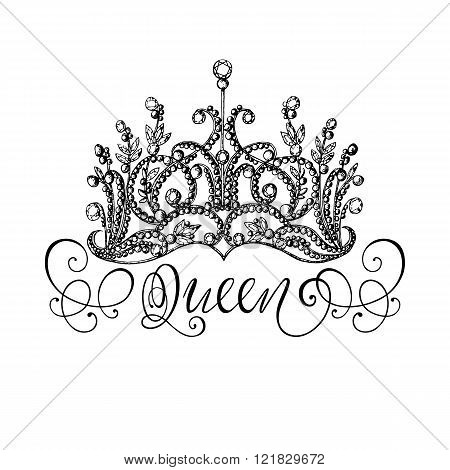 Elegant hand-drawn Queen crown with lettering. Graphic black-and-white illustration. Perfect for thematic banners announcement web design.