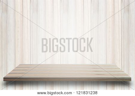 Empty top view of wooden table on wood background For display of your product.