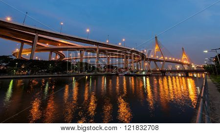 Bhumibol Bridge At The Morning In Bangkok