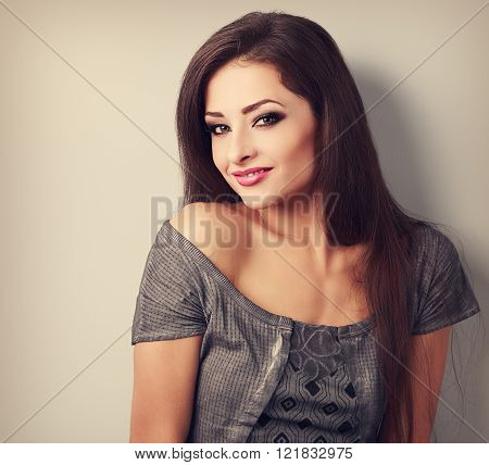 Beautiful Makeup Brunette Woman Happy Smile. Toned Vintage Closeup Portrait