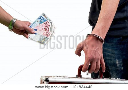 transfer deal - handover of a suitcase for money