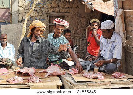 HADIBOH, SOCOTRA ARCHIPELAGO, YEMEN - FEB 14, 2016: At the local market, local people selling goat meat