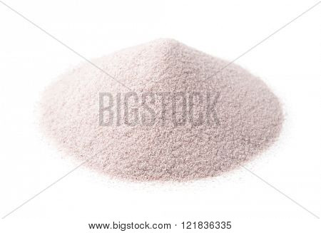 Pile of white silica sand isolated on white
