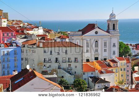 Saint Muguel church and Alfama Lisbon Portugal