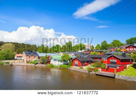 Colorful Wooden Houses And Barns In Porvoo