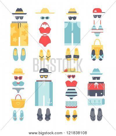 Beachwear different flat vector summer icons, beachwear cloth fashion looks.