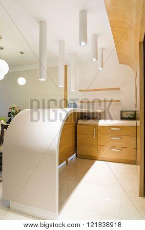 Modern Countertop  In Luxury Kitchen Interior