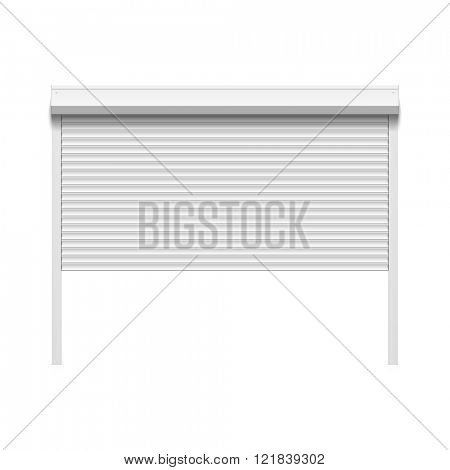Garage door with rolling shutters. Vector.