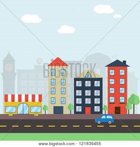 Colorful flat cityscape