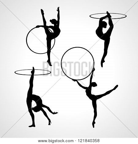 Collection 4 Creative silhouettes of gymnastic girls with hoop. Art gymnastics set black and white vector illustration
