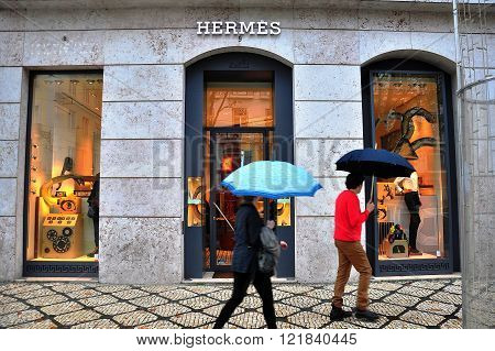 LISBON PORTUGAL - DECEMBER 27: Hermes flagshop store in Lisbon city centre on december 27 2013. Hermes is a world known luxury french fashion brand.