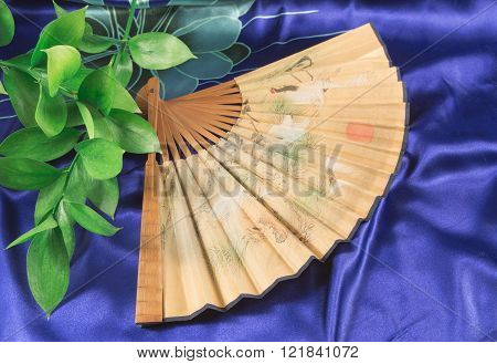 Outdoor Fan And Green Stems Lying On The Blue Silk