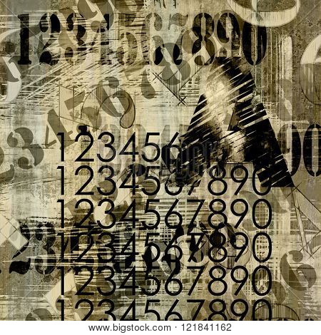 art abstract grunge collage of  number and typo, monochrome  background in sepia, beige and black colors