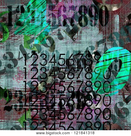 art abstract grunge collage of  number and typo, colorful   background with black