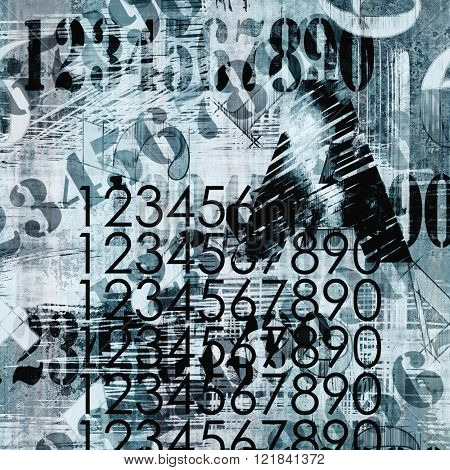 art abstract grunge collage of  number and typo, monochrome  background in black, blue grey and white colors